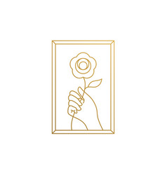 Design hand with flower in frame hand vector