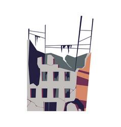 Destroyed building damaged structure cartoon vector