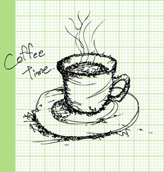 Draw sketches of coffee on graph paper ector vector image