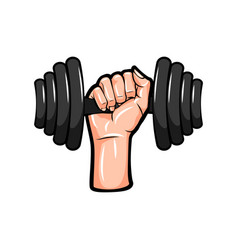 dumbbell in hand icon vector image