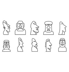 Easter island statue icons set outline style vector