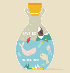 Eco concept poster bottle and animals inside vector