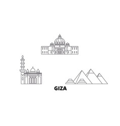 Egypt giza line travel skyline set egypt giza vector