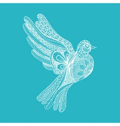 entangle stylized floral pigeon for peace day vector image