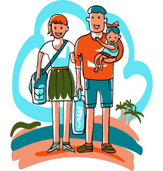 family travels dad mother and daughter tourists vector image