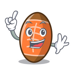 Finger rugby ball mascot cartoon vector