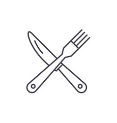 fork and knife line icon concept fork and knife vector image