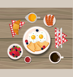 Fried eggs with croissant and sausages nutrition vector