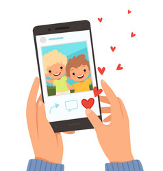 Friends portrait hands holding smartphone with vector