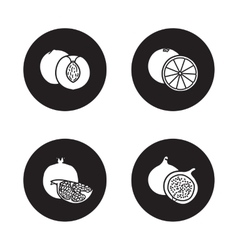 Fruits black icons set vector image