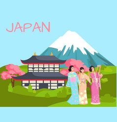fuji mountain and japanese temple image vector image