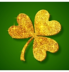 Golden shining glitter glamour clover leaf on dark vector image vector image