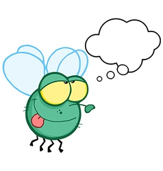 Green Fly Flying With Speech Bubble vector