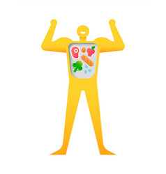 happy strong man with healthy balanced diet vector image