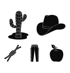 hat cactus jeans knot on the lasso rodeo set vector image