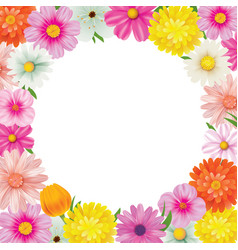 Hello spring circle frame greeting card and vector