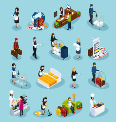 Hotel service isometric icon set vector