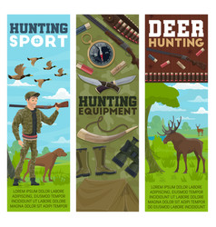 Hunting sport banners hunter and animals vector