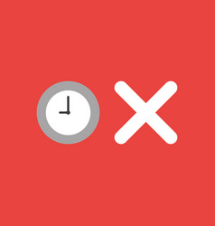 Icon concept of clock with x mark on red vector