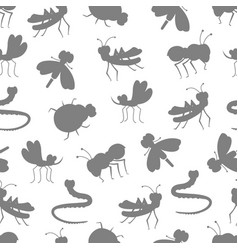 insect silhouettes seamless pattern design vector image