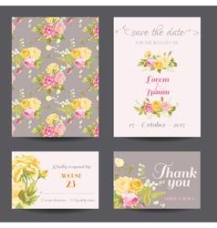 invitation flower card set - save date vector image