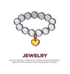 Jewelry pearl necklace with golden heart pendant vector