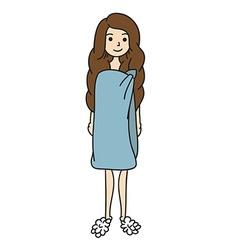 Lady in a Towel Cartoon vector image
