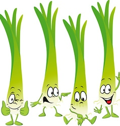 leek or green onion- funny cartoon vector image