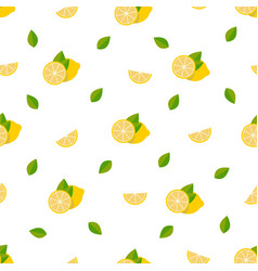lemons seamless pattern background with tropical vector image