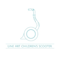 Line Art Childrens Scooter One vector