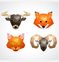Low poly animals bull fox cat ram set vector