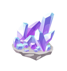 Magic crystal lilac gem stone mineral icon vector
