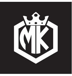 mk logo monogram rounded hexagon shape vector image