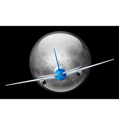 Moon and airplane vector