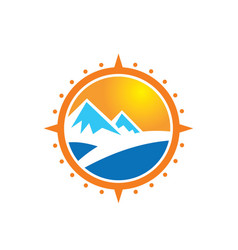 Mountain adventure compass logo vector