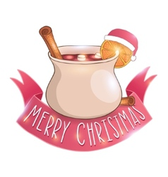 Mulled wine with cinnamon vector image