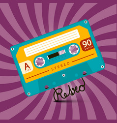 music retro violet background with audio cassette vector image