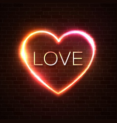 neon sign the word love with heart shape frame vector image