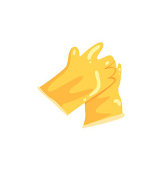pair of yellow rubber gloves protective equipment vector image