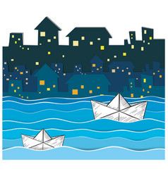 Paper boats floating along the river in city vector