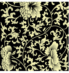 pattern on black background with chinese flowers vector image