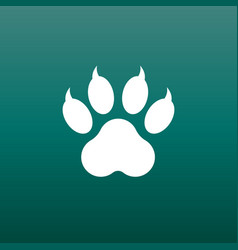 paw print icon on green background dog cat bear vector image