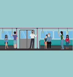 people in subway train using during quarantine vector image