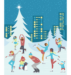 People skaiting on winter ice rink vector