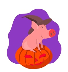 Pig in the gourd vector image vector image
