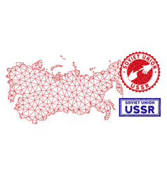 Polygonal network ussr map and grunge stamps vector