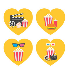 pop corn icon heart set movie reel 3d glasses vector image