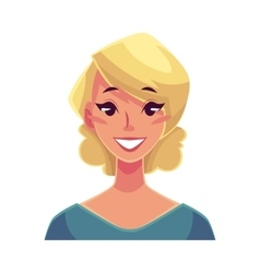 Pretty blond woman smiling facial expression vector