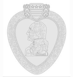 Purple heart medal outline vector