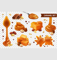 Realistic caramel chocolate nut icon set vector